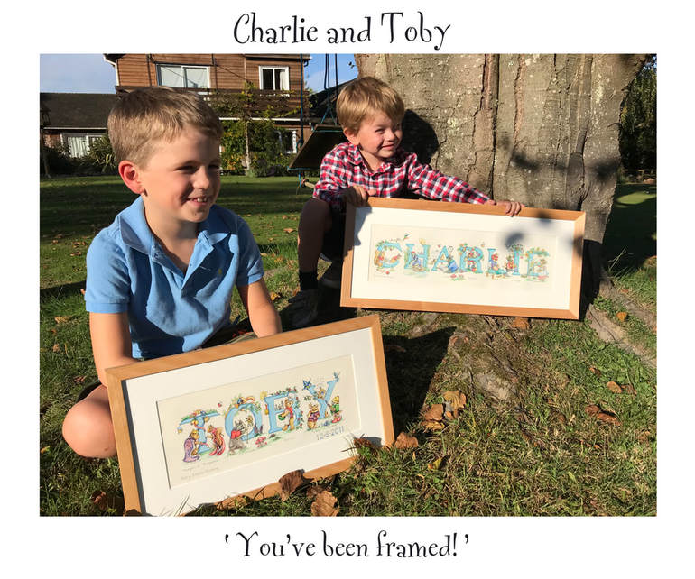 Animals at Work by Mary-Louise Hussey - Toby & Charlie with name paintings